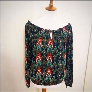 Lucky brand smocked off shoulder print top L